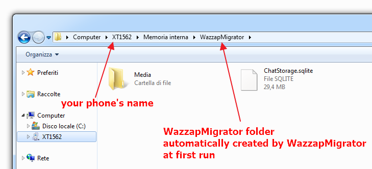wazzapmigrator folder structure - windows
