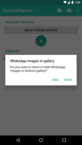WazzapMigrator able to hide or show images in Android gallery