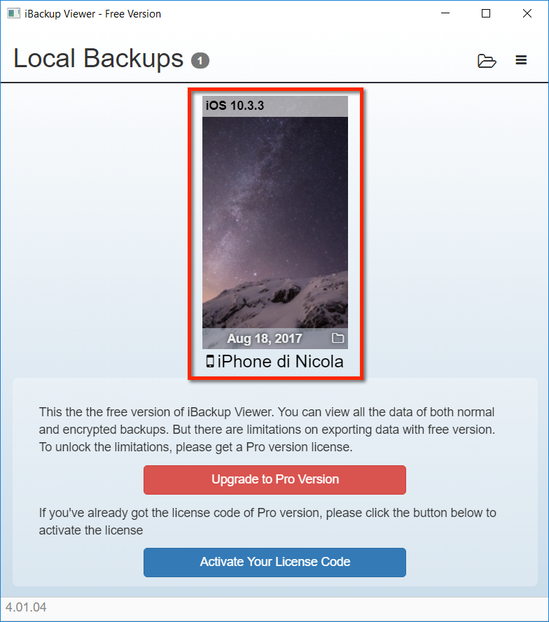 iBackup Viewer - Step 1