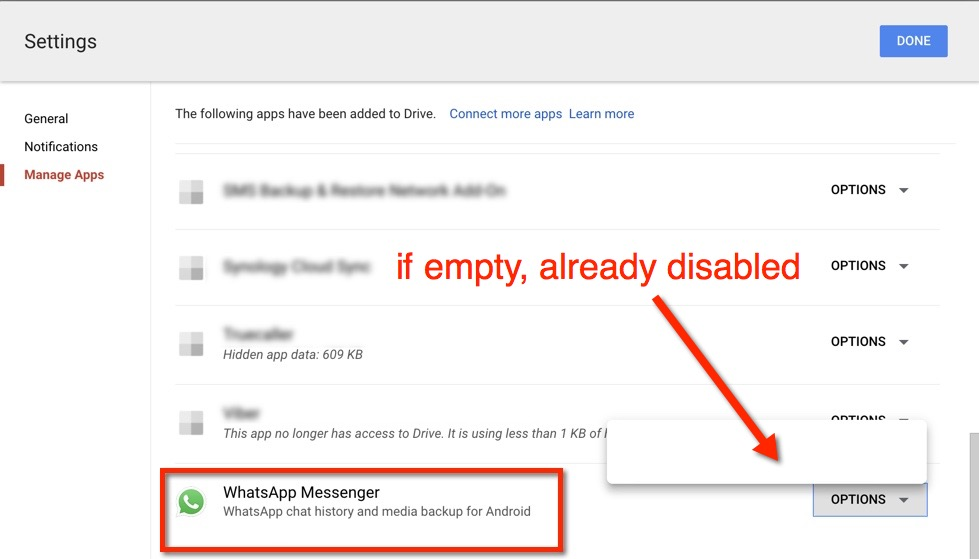 How to disable WhatsApp Google Drive backups - empty already